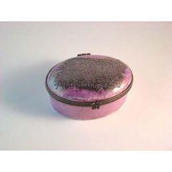 boite ovale gainee rose metaux precieux