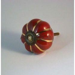bouton de tiroir fleur rouge or