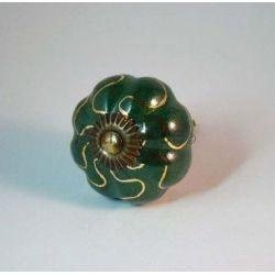 bouton de tiroir fleur vert or