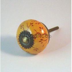 Bouton de tiroir rond orange feuillage
