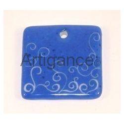 pendentif carre bleu