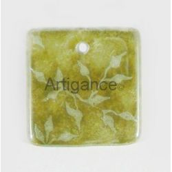 Pendentif carre feuillage vert