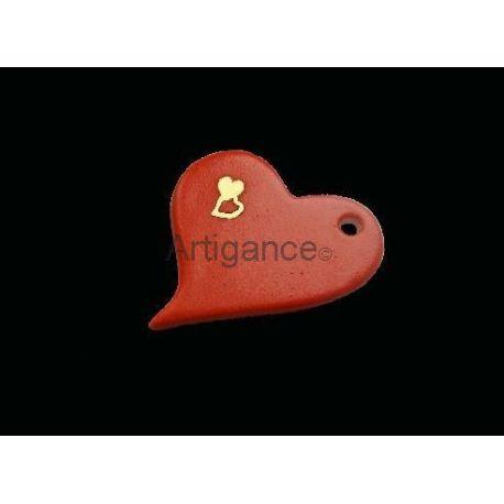 pendentif coeur rouge or