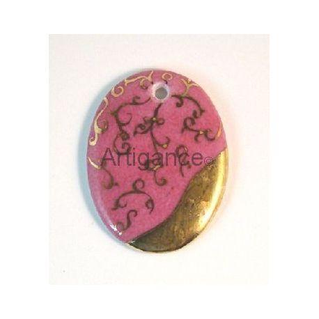 pendentif ovale rose ancien