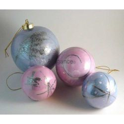 Boules de Noël rose et bleu