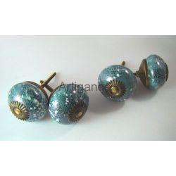 bouton de tiroir boule turquoise