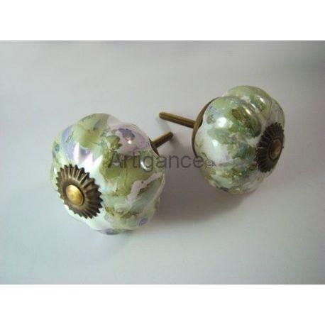 bouton de tiroir fleur vert violine