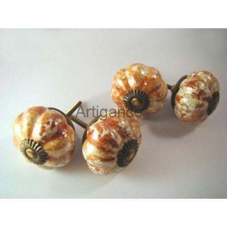 bouton de tiroir fleur orange