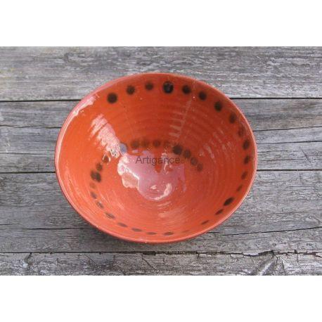 Coupelle Faïence rouge, décor pois bronze