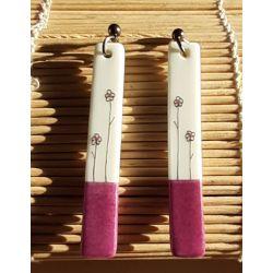 Boucles d'oreilles longues Japon prune