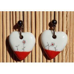 Boucles d'oreilles coeur Japon rouge