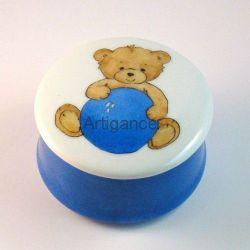 Boîte ronde ours bleu