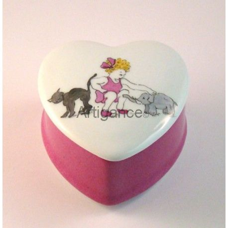 Boîte coeur rose fille animaux