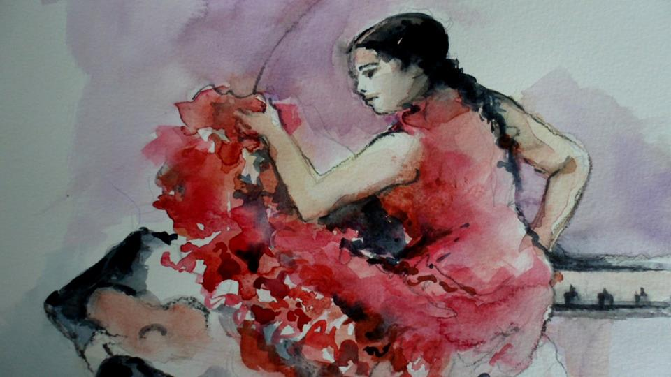 Aquarelle Robe Rouge